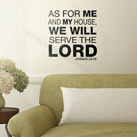 """Vinyl Wall Art Decal - We Serve Lord - 22.5"""" x 22""""- Bible Verse Religious Quote"""