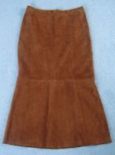 Ralph Lauren long flared luxe Suede leather Skirt, brown tan rust Size 12 / 14