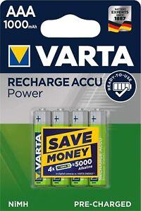 4x  accus VARTA AAA 1.2V 1000 mAh NiMH HR03 Batteries piles rechargeables .