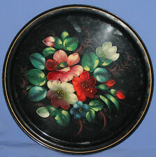 Vintage Soviet Russian Metal Floral Hand Painted Serving Tray