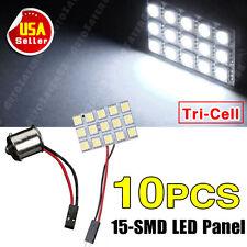 10x Car White LED 5050 SMD Instrument Panel Interior Light Bulb + BA15S Adapter
