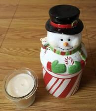 Homework Harry Slatkin Large Ceramic Snowman Candle Holder Santa's Cookies