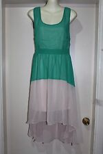 DRESS UP WITH A STRIKING GREEN & NUDE SLEEVELESS NWT FISHTAIL DRESS SIZE 14