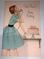 Vintage 1950's Norcross Birthday Greeting Card Girl On Telephone Dress Glitter
