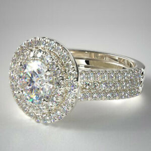 Round Cut 1.75 Ct Engagement 18K White Gold Diamond Solitaire Rings M N O P Sale