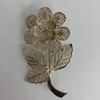VINTAGE Filigree Flower 925 Sterling Silver Brooch Pin 6g Dainty Intricate