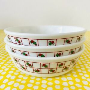 Vintage Pyrex Cereal Bowls x3 Geometric Red Green Squares Pattern 1980s Retro