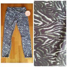 New GURU Green Stripes Women's L Large High Waist Capri Yoga Pants Leggings
