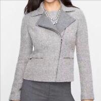 Talbots Boucle Wool Bld Tweed Metallic Full Zip Moto Jacket Blazer Womens Sz 12