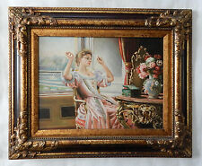 Beautiful Rococo Style Oil Painting Art O/C Portrait of Woman Interior Scene