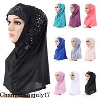 Women Muslim Hot Drilling Hijab Hat Scarf Turban Islamic Head Cover Headwear Cap