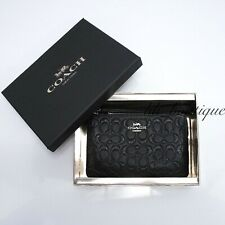 NWT Coach F80214 Small Corner Zip Wristlet Wallet Leather Glitter Signatur Black