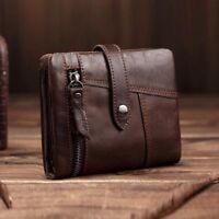 Vintage Men Genuine Leather Wallet Cowhide Purse Credit Card Holder Zip Around
