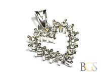 Signed .925 Sterling Silver Heart Shape CZ Necklace Pendant - Lovely Design