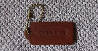 Vintage Coach Brown Leather Key Chain Fob Ring Charm Hang Tag Hangtag