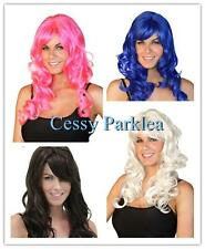 Neon Long Costume Fancy Dress Up Curly Wigs Black White Pink Blue Brown