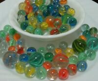 100 Fun Vintage Classic Cats Eye Marbles Shooters Red Blue Yellow Old Time Toys