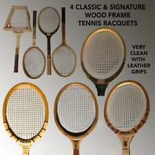 4 Different Classic & Signature Wood Frame Tennis Racquets Clean & Collectable