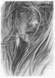 original drawing A4 144VL art samovar modern Graphite female portrait
