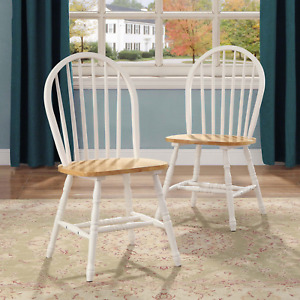 Wood Dining Chairs Kitchen Nook Table Seat Farmhouse Country Round Back Stool 2x