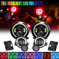 "7"" Inch RGB LED Halo Headlights + Fog+Turn+Fender Combo Kit For Jeep Wrangler JK"