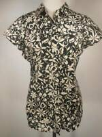 Beautiful Women's Large Exofficio Black White Floral Short Sleeve Button Blouse