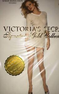 Victoria Secret Sheer Seduction Garter Stockings Color Oatmeal Ex Small 7728 -11