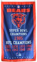 Chicago Bears NFL Super Bowl Championship Flag 3x5 ft Vertical Banner