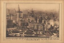 1922 Antique Print New York City Aerial View Lower Battery Sepia Rotogravure