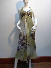 LINEA RAFFAELLI GREEN SILK  HALTER NECK DRESS    UK 10    RET £665 !   BNWT