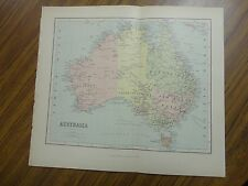 Nice color map of the Country of Australia. Printed 1888. Chambers Map.