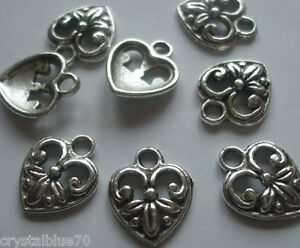 12, 25 or 50 x Ornate Heart Charms 15x12mm Antique Silver Tone Crafts - C040