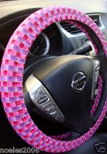Handmade Steering Wheel Covers Red Pink and Purple Checkerboard Weave