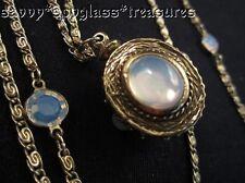 Long Bezel Set Goldette Opalescent Swarovski Crystal Cabochon Layered Necklace