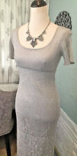 NWOT Elegant Silver Crochet JS Signature Maxi Dress W/ BCBG Maxazria Flair