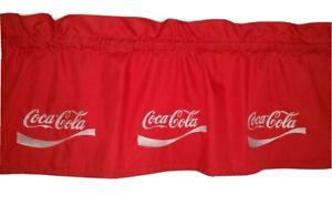 CUSTOM LINED VALANCE 42 X 15  ORIGINAL RETRO COCA COLA COKE SODA POP DRINK RED