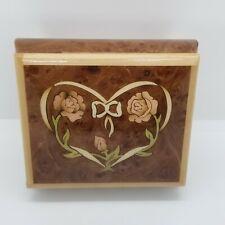 The San Francisco Music Box Company Wood Heart Roses Inlay Music Box Italy