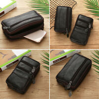 Mens PU Leather Zipper Handbag Wallet Coins Phone Money Storage Holder Pouch