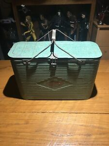 Turner Rare Vintage 60's Green Metal Cooler with Handle Diamond Badge Ice Chest