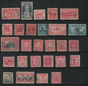 US Scott #627//717 US 2c Red (and 5c!) Collection 27 singles COMPLETE USED!