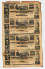 US Obsolete Currency Uncut Sheet of 4 Remainder, James River Kanawha Company VA*