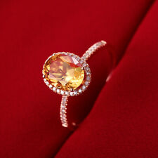 Anniversary Classical Gemstone Ring Solid 18K Rose Gold Citrine Oval Cut 8x6mm