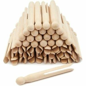 50 pcs Traditional Clothespins Round Wooden for Craft Creative Projects