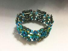 Vintage Floral Stretch Bracelet w/Color Rhinestones