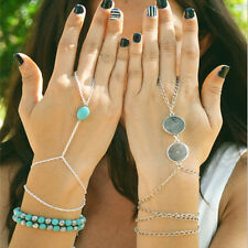 Silver Turquoise Slave Chain Finger Ring Bangle Hand Harness beaded Bracelet hs6