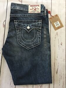 🤍 NWT TRUE RELIGION   Straight Flap   Natural Big T  Falcon Claw   Mens Size 40