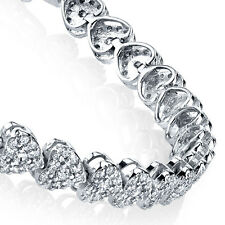 925 Sterling Silver Heart Shaped Link Cubic Zirconia Tennis Bracelet CZ Bridal