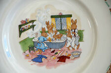 "Royal Doulton Bunnykins Plate Bunny Rabbits Bath Time 8"""
