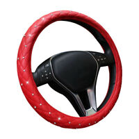 Leather Car Steering Wheel Cover Diamonds Glove Soft Girl Ladies Lady Grip Red