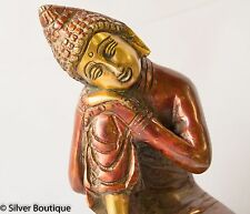 "Sleeping Buddha Statue Unique Two Tone Polish Serenity Brass Handmade Unique 6"""